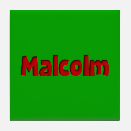 Malcolm Green and Red Tile Coaster