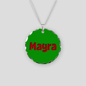 Mayra Green and Red Necklace Circle Charm