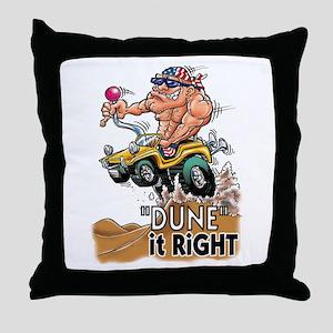 """Dune It Right"" Dune Buggy Cartoon Throw Pillow"