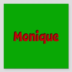 "Monique Green and Red Square Car Magnet 3"" x 3"""