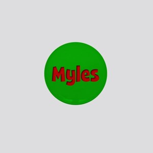 Myles Green and Red Mini Button