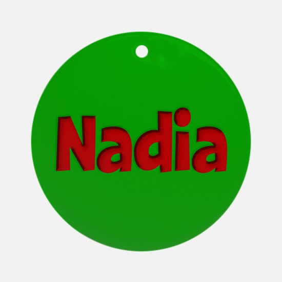 Nadia Green and Red Ornament (Round)