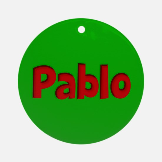 Pablo Green and Red Ornament (Round)