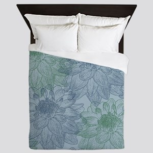 Blue and Green Peonies Queen Duvet