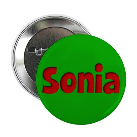 """Sonia Green and Red 2.25"""" Button"""