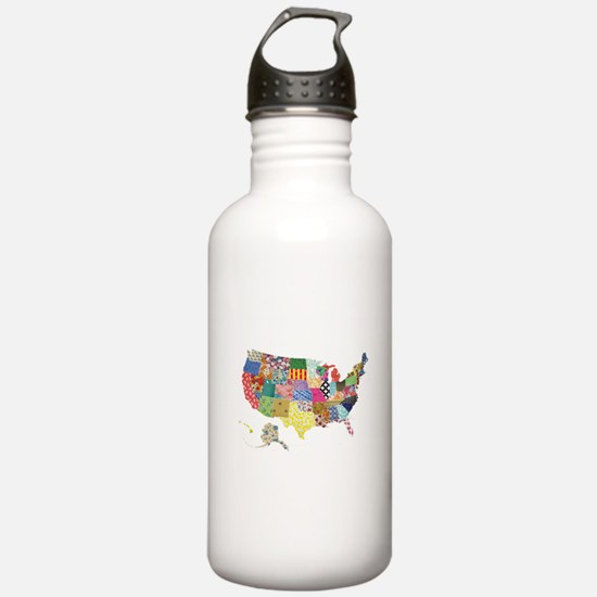 Everything Mapped America Water Bottle
