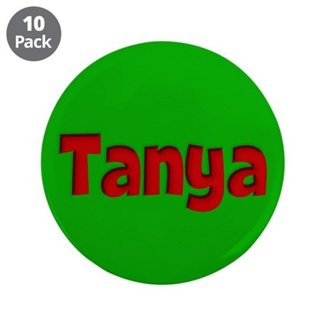 "Tanya Green and Red 3.5"" Button (10 pack)"