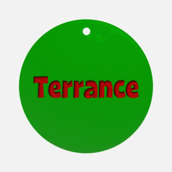 Terrance Green and Red Ornament (Round)