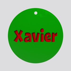 Xavier Green and Red Ornament (Round)
