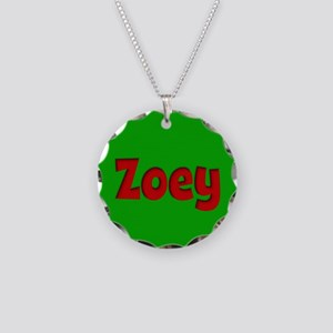 Zoey Green and Red Necklace Circle Charm