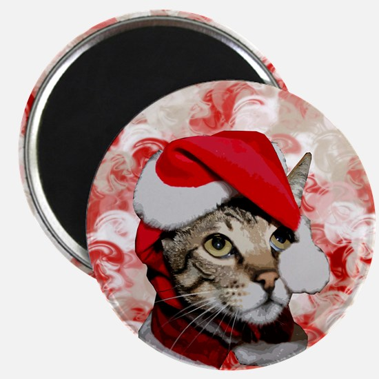 Santa Cat With Red Swirls Magnet