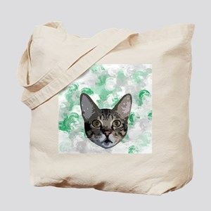 Gray And White Cat Green Portrait Tote Bag