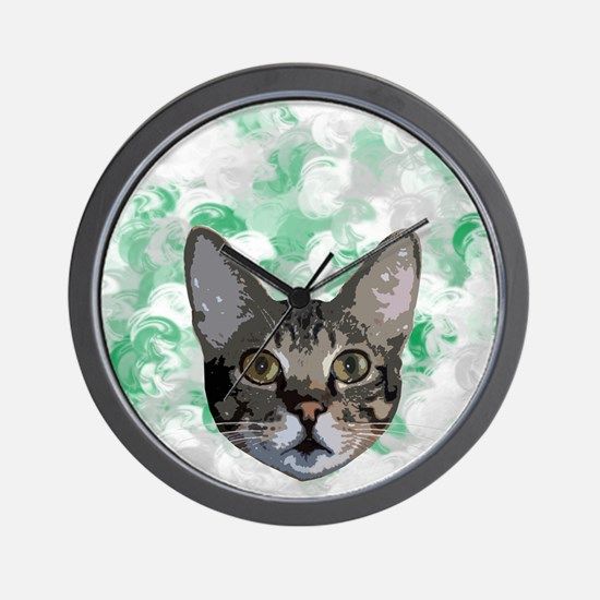 Gray And White Cat Green Portrait Wall Clock