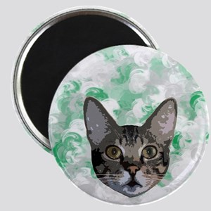 Gray And White Cat Green Portrait Magnet