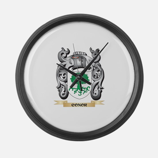 Conor Family Crest - Conor Coat o Large Wall Clock