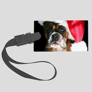 christmas boxer dog Large Luggage Tag