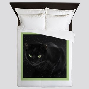 Mystical Black Cat Queen Duvet