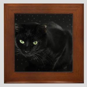 Mystical Black Cat Framed Tile