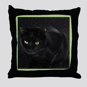 Mystical Black Cat Throw Pillow