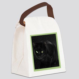 Mystical Black Cat Canvas Lunch Bag