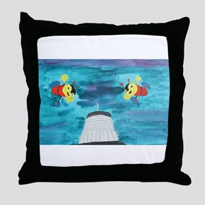 Buzzy Beehive Building Throw Pillow