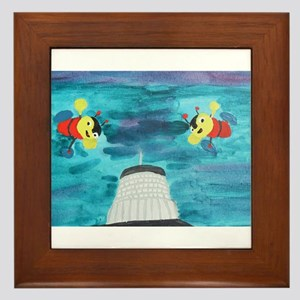 Buzzy Beehive Building Framed Tile