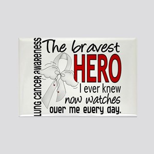 Bravest Hero I Knew Lung Cancer Rectangle Magnet