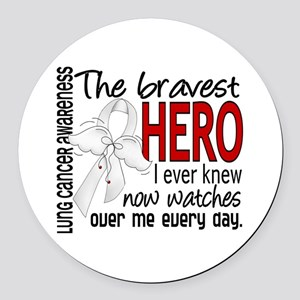 Bravest Hero I Knew Lung Cancer Round Car Magnet