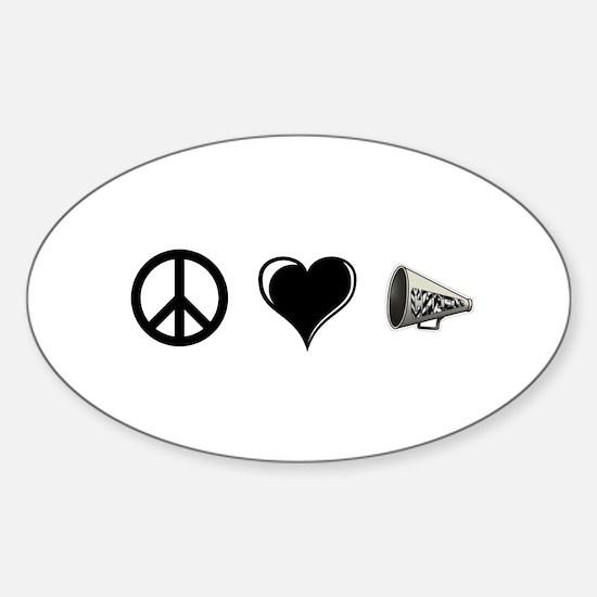 Peace, Love, Cheer Sticker (Oval)