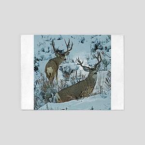 bucks in snow 3 5'x7'Area Rug