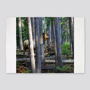 Bull Elk in forest 5'x7'Area Rug