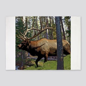 Bull elk in pines 5'x7'Area Rug