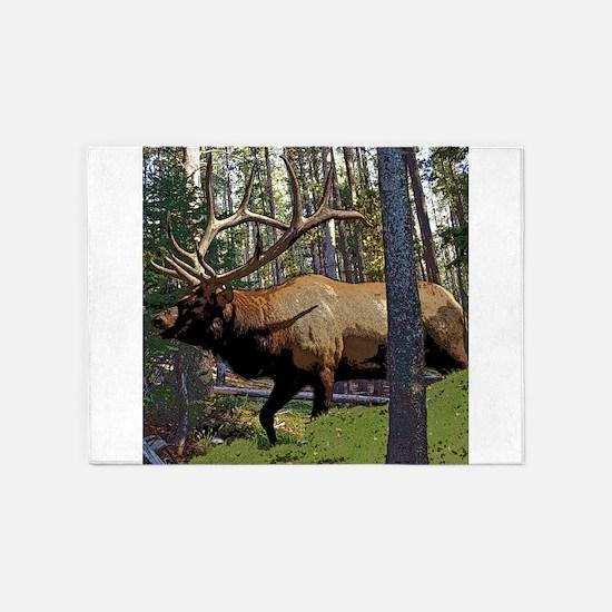 Bull elk in pines 5'x7'Area Rug