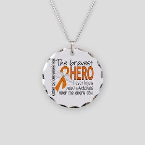 Bravest Hero I Knew Kidney Cancer Necklace Circle