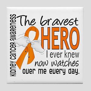 Bravest Hero I Knew Kidney Cancer Tile Coaster