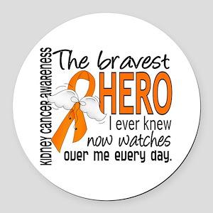 Bravest Hero I Knew Kidney Cancer Round Car Magnet