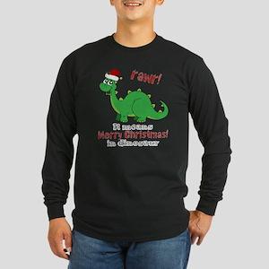 Dinosaur Christmas Long Sleeve Dark T-Shirt