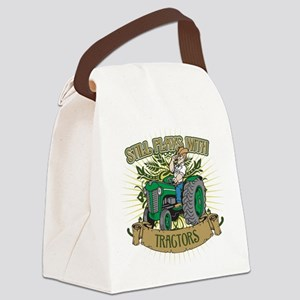 Still Plays with Green Tractors Canvas Lunch Bag