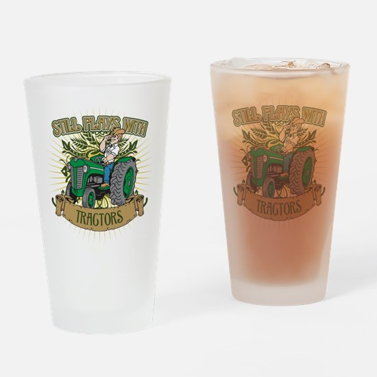 Still Plays with Green Tractors Drinking Glass
