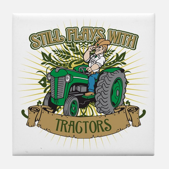 Still Plays with Green Tractors Tile Coaster