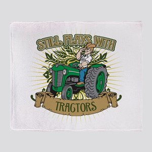 Still Plays with Green Tractors Throw Blanket