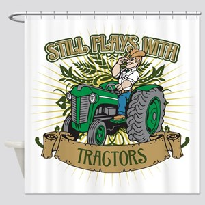 Still Plays with Green Tractors Shower Curtain