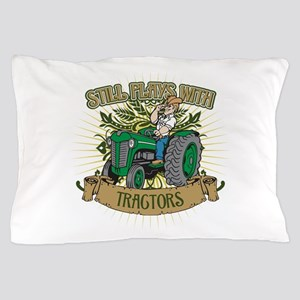Still Plays with Green Tractors Pillow Case
