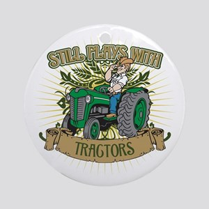 Still Plays with Green Tractors Ornament (Round)