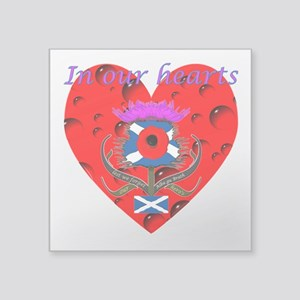 In our hearts military heros Square Sticker 3&quot