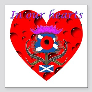In our hearts military heros Square Car Magnet 3&q