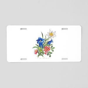 alpine-flowers3 Aluminum License Plate