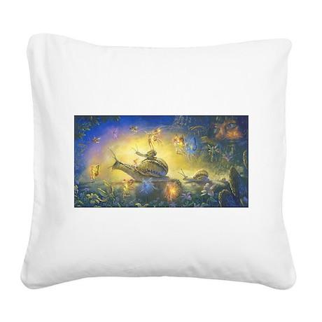 Fairy Snail Parade Square Canvas Pillow