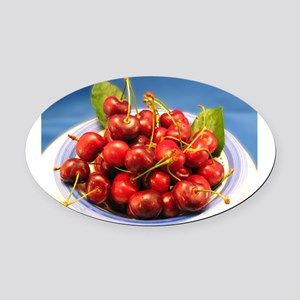 Bowl-of-Cherries Oval Car Magnet