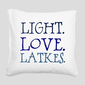Light. Love. Latkes. Square Canvas Pillow